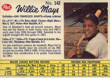 1962 Post Cereal Willie Mays #142 Baseball Card