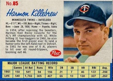 1962 Post Cereal Harmon Killebrew 85 Baseball Vcp Price Guide