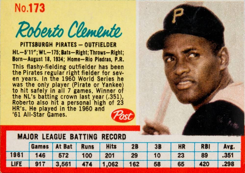 1962 Post Cereal Roberto Clemente #173b Baseball Card