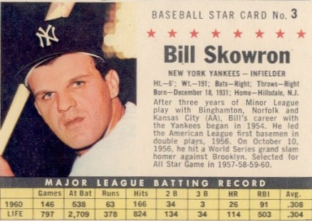 1961 Post Cereal Bill Skowron #3 Baseball Card