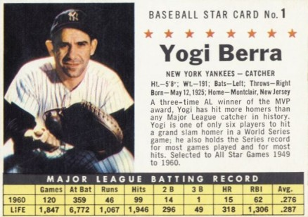 1961 Post Cereal Yogi Berra #1 Baseball Card