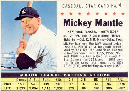 1961 Post Cereal Mickey Mantle 4hc Baseball Card Value Price Guide