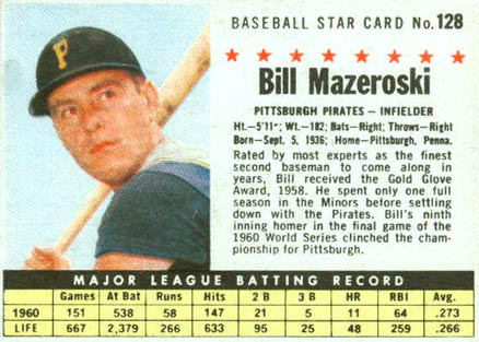 Bill Mazeroski Hall Of Fame Baseball Cards