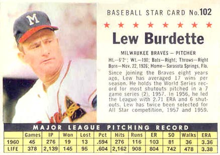 1961 Post Cereal Lew Burdette #102 Baseball Card