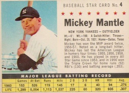 1961 Post Cereal Mickey Mantle #4p Baseball Card