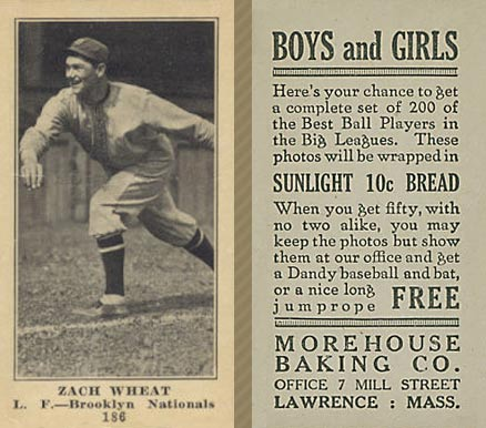 1916 Morehouse Baking Zach Wheat #186 Baseball Card