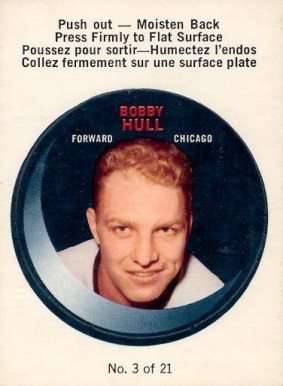 1968 O-Pee-Chee Puck Stickers Bobby Hull #3 Hockey Card