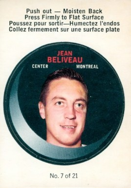 1968 O-Pee-Chee Puck Stickers Jean Beliveau #7 Hockey Card