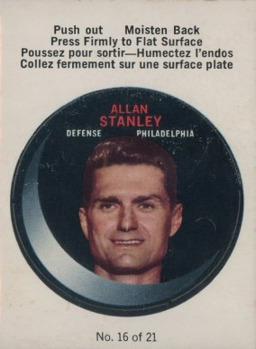 1968 O-Pee-Chee Puck Stickers Allan Stanley #16 Hockey Card
