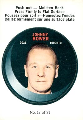 1968 O-Pee-Chee Puck Stickers Johnny Bower #17 Hockey Card