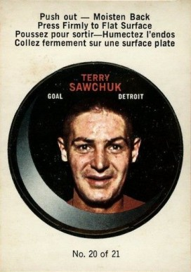 1968 O-Pee-Chee Puck Stickers Terry Sawchuk #20 Hockey Card