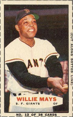1963 Bazooka Singles Willie Mays #12 Baseball Card