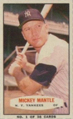 1963 Bazooka Singles Mickey Mantle #1 Baseball Card