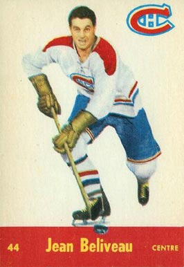1955 Quaker Oats Jean Beliveau #44 Hockey Card