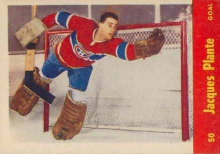 1955 Quaker Oats Jacques Plante #50 Hockey Card