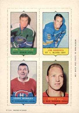 1969 O-Pee-Chee 4-in-1 Earl Ingarfield # Hockey Card