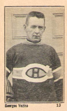 1924 Maple Crispette Georges Vezina #13 Hockey Card