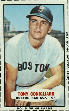 1966 Bazooka Singles Tony Conigliaro #6 Baseball Card