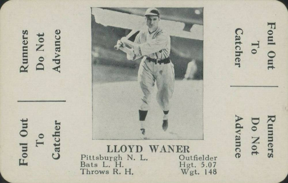 1936 S & S Game Lloyd Waner #49 Baseball Card