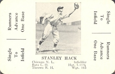 1936 S & S Game Stanley Hack #27 Baseball Card