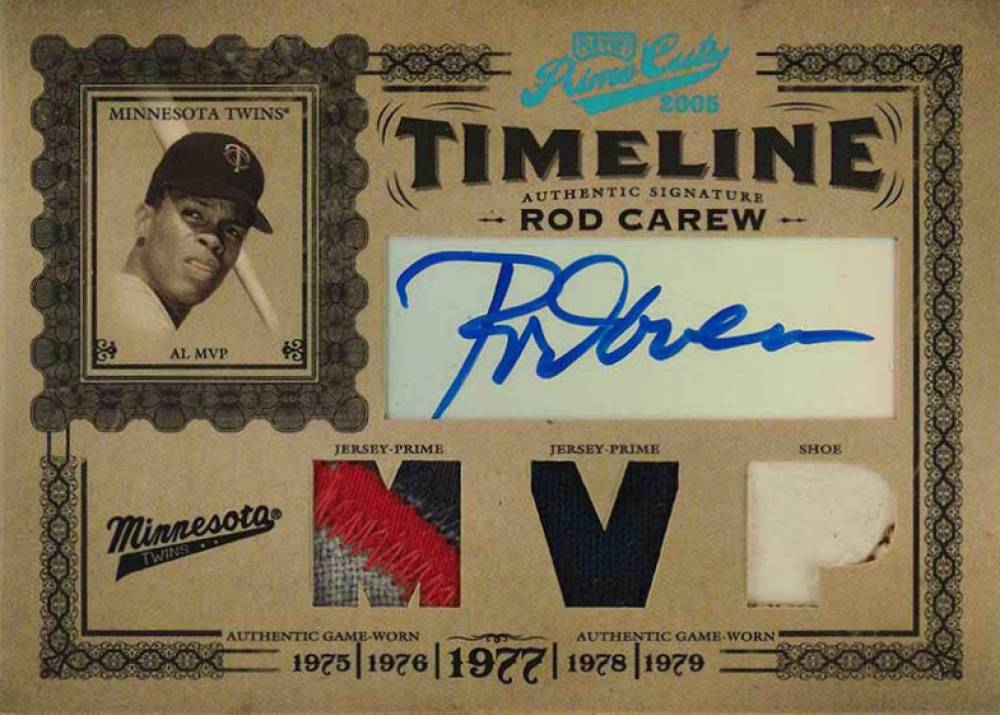 2005 Playoff Prime Cuts Timeline Signature Material Trio MVP Prime Rod Carew #23 Baseball Card