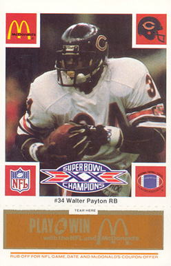 1986 McDonald's Bears Walter Payton #34 Football Card