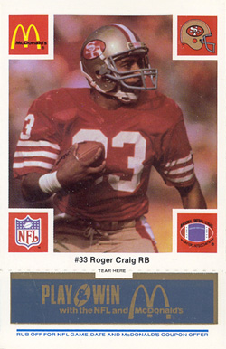 1986 McDonald's 49ers Roger Craig #33 Football Card