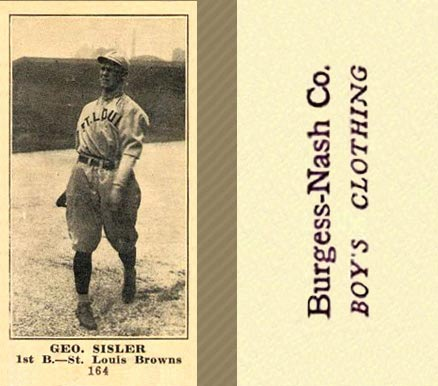 1916 Burgess-Nash Geo. Sisler #164 Baseball Card