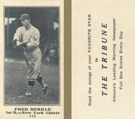 1916 Tribune Fred Merkle #118 Baseball Card