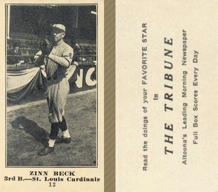 1916 Tribune Zinn Beck #12 Baseball Card