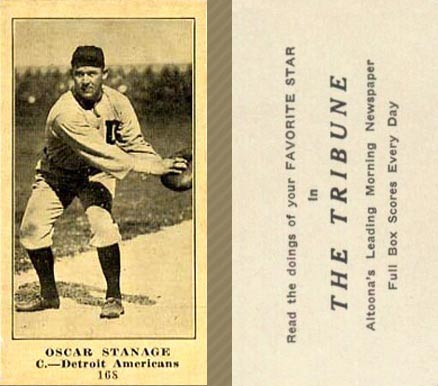 1916 Tribune Oscar Stanage #168_Catch  	 Baseball Card