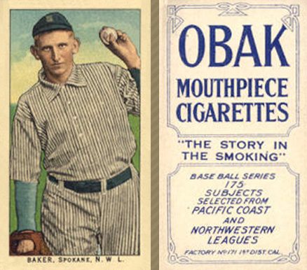 1910 Obak (175 Subjects)  Baker #6 Baseball Card