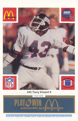 1986 McDonald's Giants Terry Kinard #43 Football Card