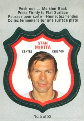 1972 O-Pee-Chee Players Crests Stan Mikita #5 Hockey Card