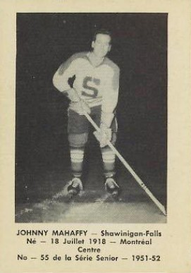 1951 Laval Dairy QSHL Johnny Mahaffy #55 Hockey Card