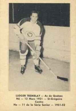 1951 Laval Dairy QSHL Ludger Tremblay #11 Hockey Card