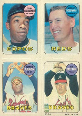 1969 Topps 4 in 1 Tommie Aaron #2 Baseball Card