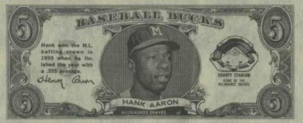 1962 Topps Bucks Hank Aaron #1 Baseball Card