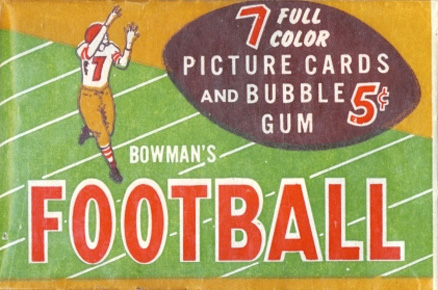 1950-1959 Unopened Packs (1950's) 1954 Bowman 5 Cent Wax Pack #54B5WP Football Card