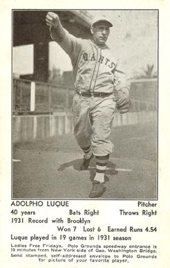 1932 N.Y. Giants Schedule Postcards Adolfo Luque #14 Baseball Card
