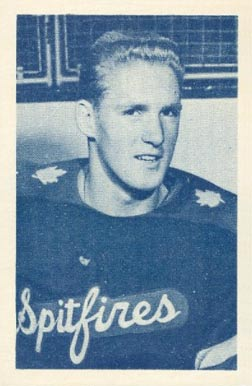 1952 Juniors Blue Tint Larry Hillman #3 Hockey Card