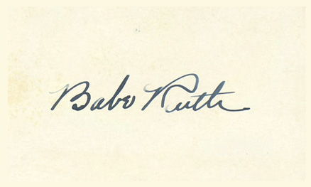 1950 Autograph Index & Postcards  Babe  Ruth #215 Baseball Card
