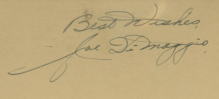 Autograph Index & Postcards  Joe  DiMaggio # Baseball Card