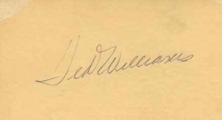 Autograph Index & Postcards  Ted Williams # Baseball Card