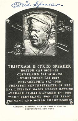 1950 Autograph B&W HOF Plaque Tris Speaker #233 Baseball Card