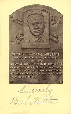 Autograph B&W HOF Plaque Babe Ruth #215 Baseball Card
