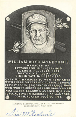 Autograph B&W HOF Plaque Bill  McKechnie # Baseball Card