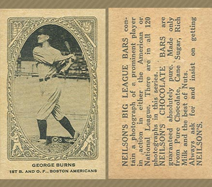 1922 Neilson's Chocolate (Type 2) George H. Burns #10 Baseball Card