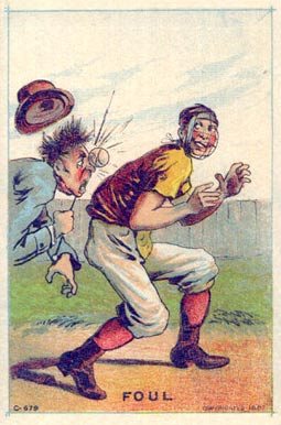 1887 Tobin Lithographs Color Foul #11 Baseball Card