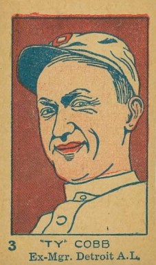 1926 W512 Strip Card Ty Cobb #3-EX MGR Baseball Card